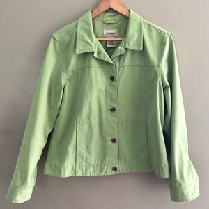 LL Bean Lime Green Button Jacket Size Reg Medium